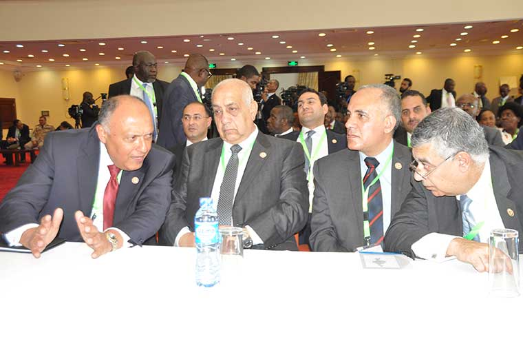 Mohammed Abdel Atti 2nd R The Egyptian Minister Of Irrigation And Water Resources His Counterparts At Summit