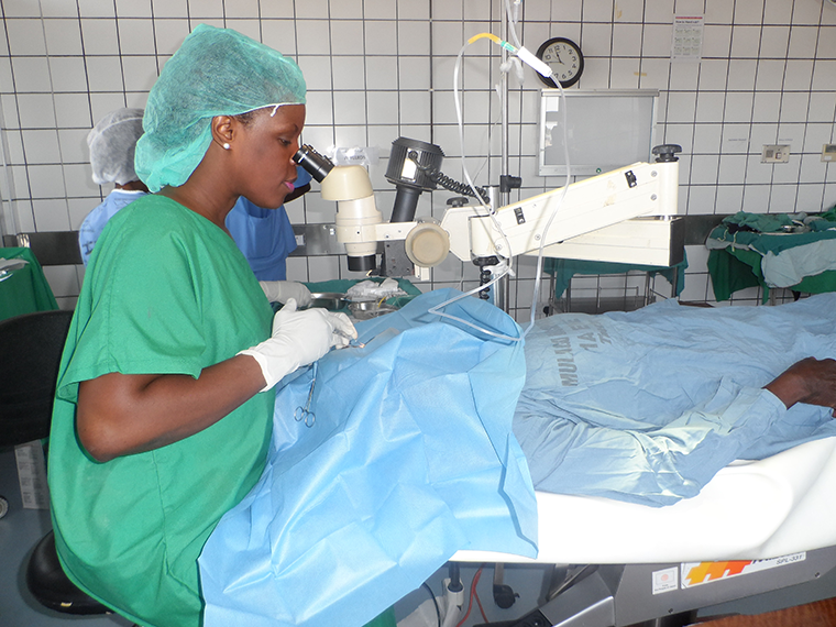 r Grace Sali the eye surgeon at Mulago hospital conducting an eye operation