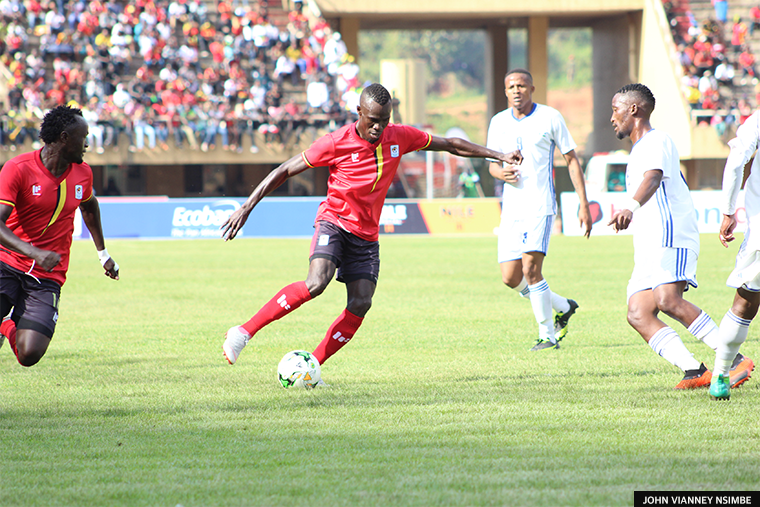 Forward Emmanuel Okwi makes the dribble from which he scored Cranes opening goal