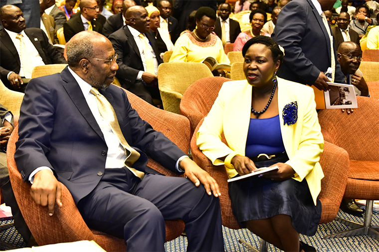 Govt chief whip Ruth Nankabirwa with PM Ruhakana Rugunda recently