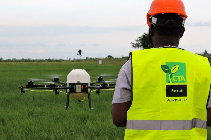 Drone demonstration Drone Demonstration for The Kpong Irrigation Scheme rice farmers. Photo: courtesy