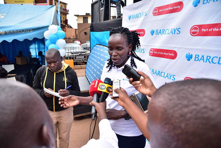Barclays bank's Gunilla Ouko speaks to the media at the launch of Access Plus account