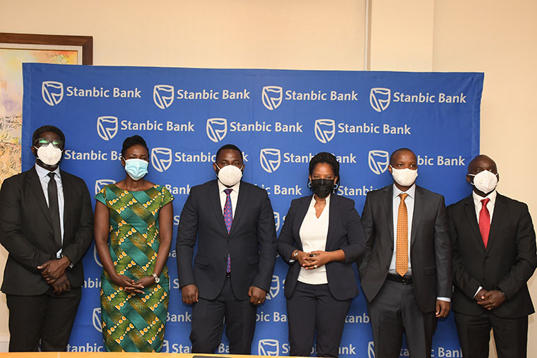 The Stanbic bank staff after the launch of the campaign