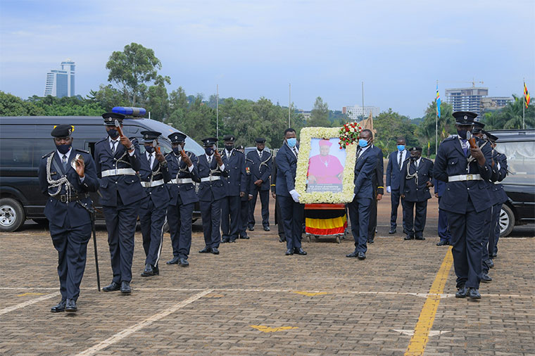Cyprian Kizito's body being wheeled to Kololo Independence Grounds on Tuesday
