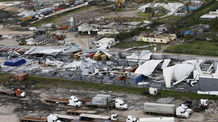 An aerial photo shows a damaged factory following the devastating Cyclone Idai in Beira, Mozambique