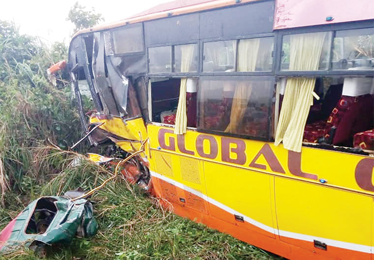 Wreckage of a bus recently involved in an accident on the Kampala-Masaka highway