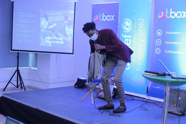 SeatPack whose school bag can transform into a mobile bamboo classroom chair complete with a writing surface was among the winners