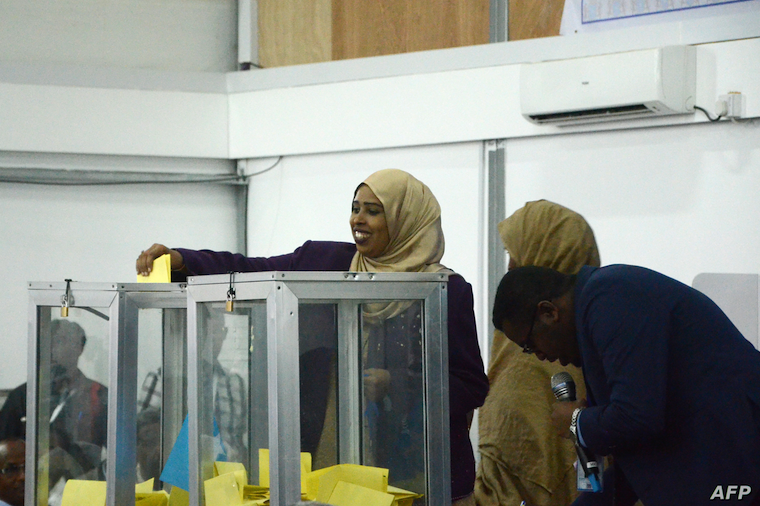 Somali MPs casting their ballots previously