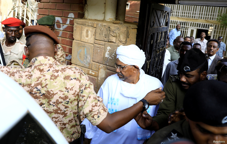 Sudan's ex-president Omar al-Bashir leaves the office of the anti-corruption prosecutor in Khartoum, Sudan, June 16, 2019