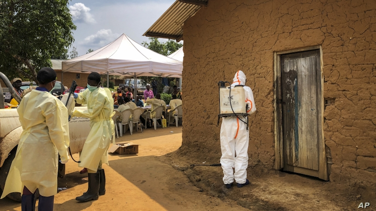 A health worker decontaminates a village house in DRC