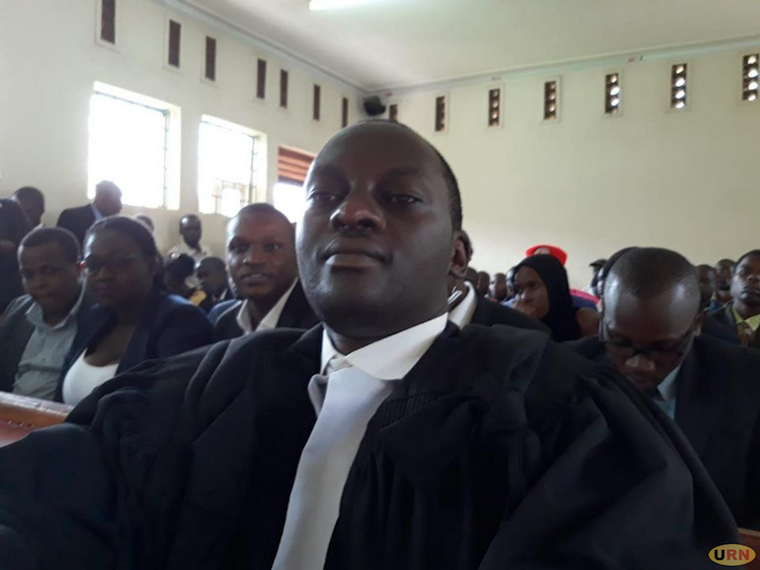 Lawyer Eron Kiiza at High court in Mubende on July 11 this year as the victims of the Kaweesi evictions in Mubende await for the Judge in their first day in court since October 2018