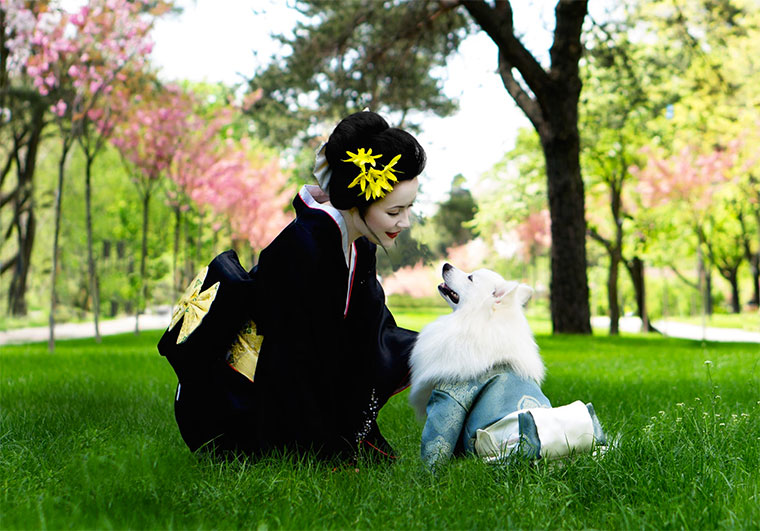 A Japanese woman with her dog