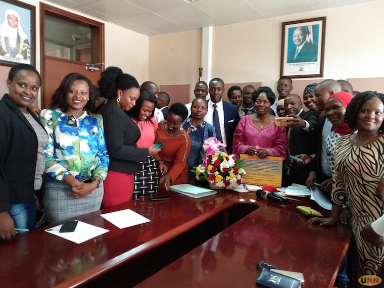 Speaker Rebecca Kadaga in a group photo with the MPs' assistants