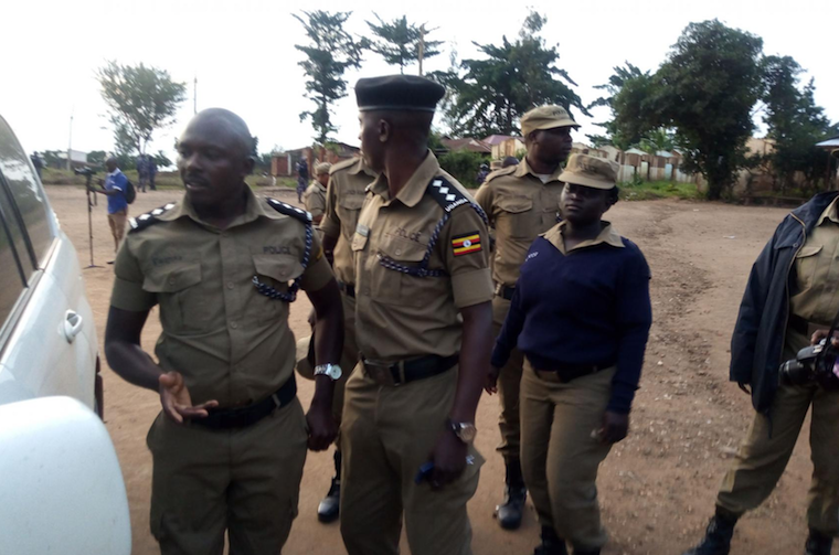 Police officers at the venue of the rally