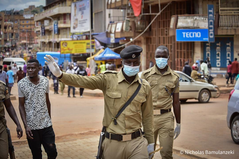 Police officers on duty in Kampala city