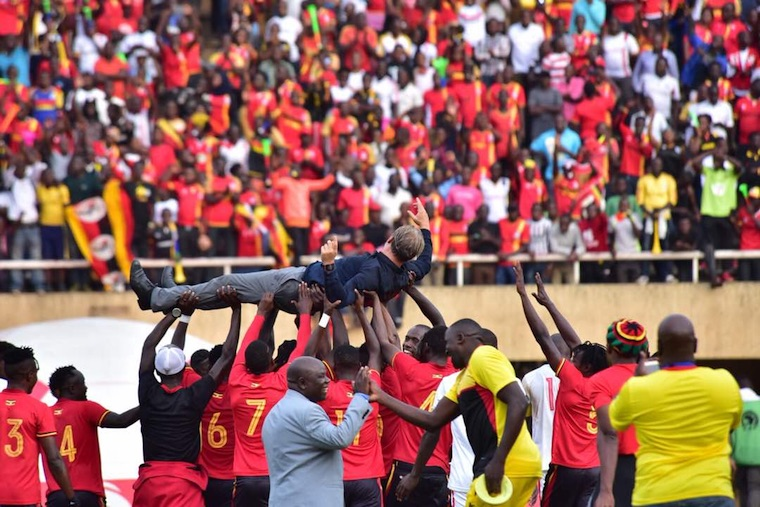 Cranes players celebrate qualifying for AFCON 2019