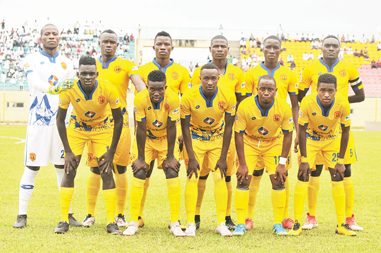 KCCA FC players (back row L-R): Charles Lukwago, Gift Ali, Filbert Obenchan, Patrick Kaddu, Herbert Acai and Timothy Awany. Front row (L-R) Mustafa Kizza, Julius Poloto, Lawrence Bukenya, Mike Mutyaba and Allan Okello before their Confederation Cup match against Otoho D'Oyo in Brazzaville on Sunday, January 13