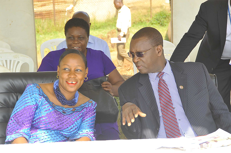 Ministry of Gender PS Pius Bagirimina with minister of state for Youth and Children Affairs Nakiwala Kiyingi